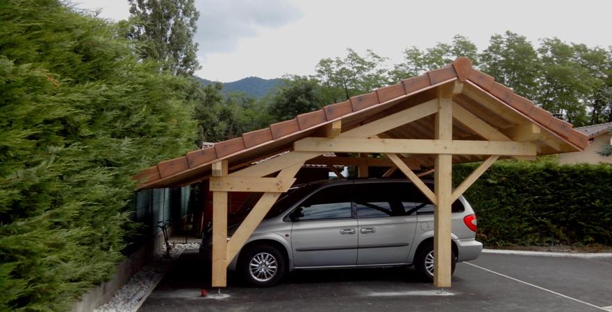 abri voiture annexe bois. Black Bedroom Furniture Sets. Home Design Ideas